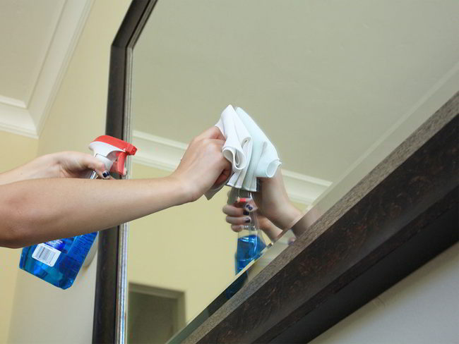 Wipe the mirrors included into post-construction cleaning checklist