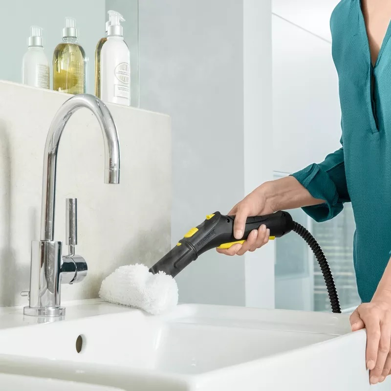 steam cleaning process in bathroom
